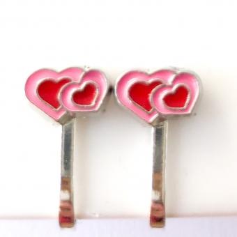 Clipoorbellen hartje roze/rood, knopje