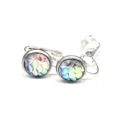 Clipoorbellen zeemeerminschubben mini wit, knopjes