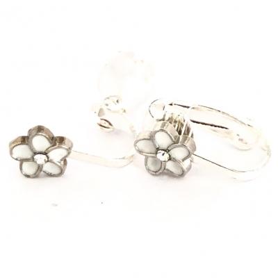 Clipoorbellen bloem wit/zilver klein, knopje