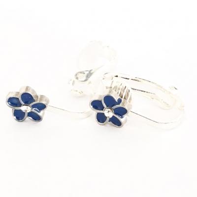 Clipoorbellen bloem donkerblauw/zilver klein, knopje