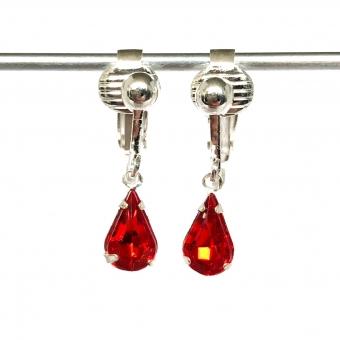 Clip oorbellen druppels rood, hangoorbellen