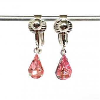 Clip oorbellen druppels roze, hangoorbellen