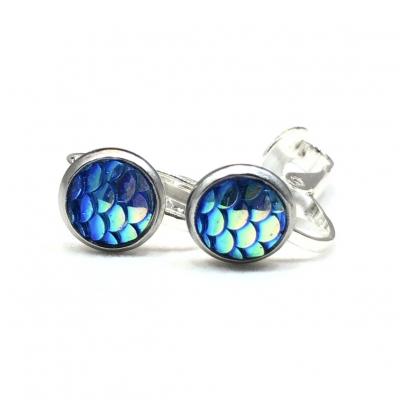 Clipoorbellen zeemeerminschubben mini blauw, knopjes