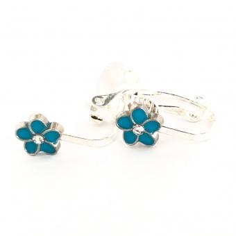 Clipoorbellen bloem turquoise/zilver klein, knopje