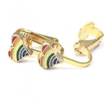 Clipoorbellen gouden hartje regenboog, knopje