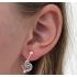 Clip oorbellen hartje Tibetaans zilver, hangoorbellen