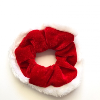 Scrunchie rood wit velours