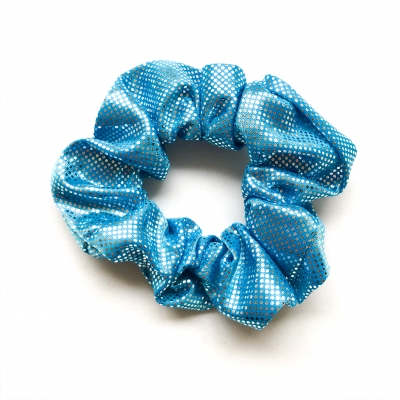 Scrunchie turquoise grote glitters