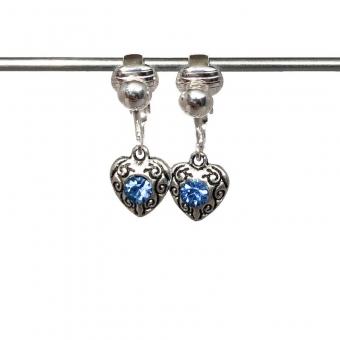 Clipoorbellen antiek zilveren hartjes met 1 lichtblauwe glitter, hangoorbellen