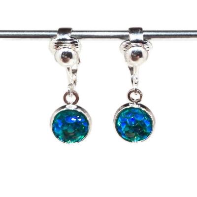 Clipoorbellen zeemeerminschubben mini turquoise, hangoorbellen