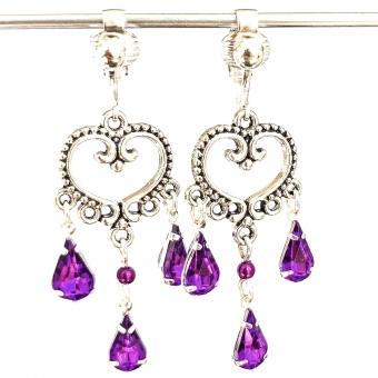 Clipoorbellen chandelier hart paars, hangoorbellen