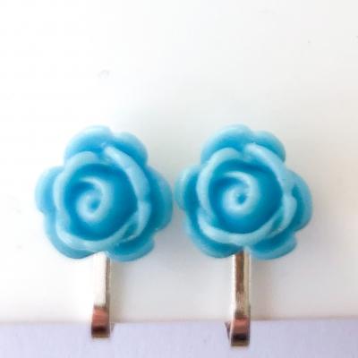 Clipoorbellen roosje turquoise 10mm, knopje