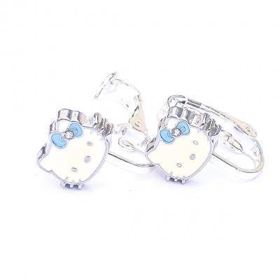 Clipoorbellen Hello Kitty met blauwe strik, knopje