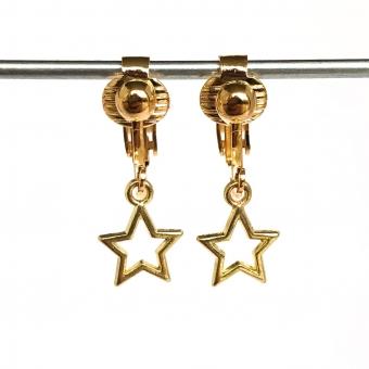 Clipoorbellen gouden sterretje open, hangoorbellen