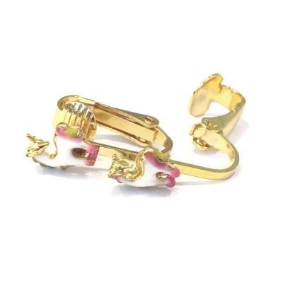 Clip oorbellen eenhoorn unicorn goud, knopje
