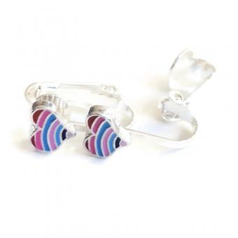 Clipoorbellen hartje blauw-roze, knopje