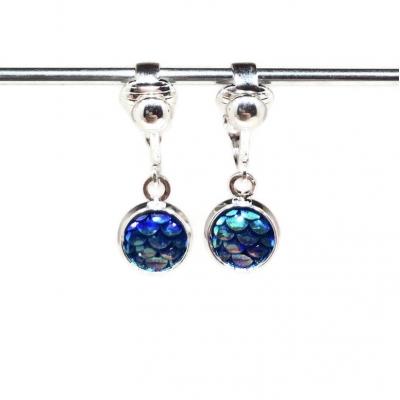 Clipoorbellen zeemeerminschubben mini blauw, hangoorbellen