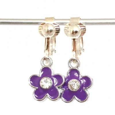 Clipoorbellen bloem paars glitter, hangoorbellen