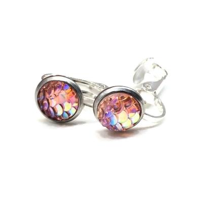 Clipoorbellen zeemeerminschubben mini lichtroze, knopjes