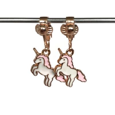 Clipoorbellen eenhoorn unicorn steigerend rozegoud, hangoorbellen