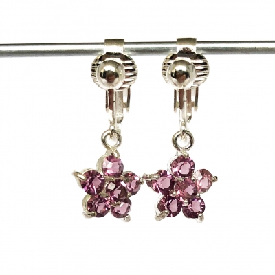 Clip oorbellen glitterbloem paars, hangoorbellen
