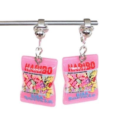 Clipoorbellen Haribo roze, hangoorbellen