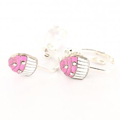 Clipoorbellen cupcake roze/zilver, knopje