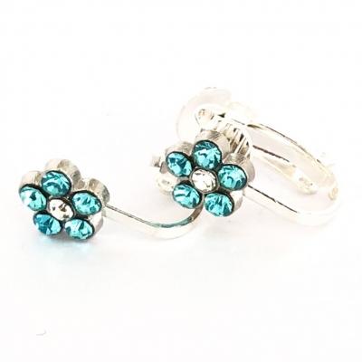 Clipoorbellen bloem glitter turquoise, knopje
