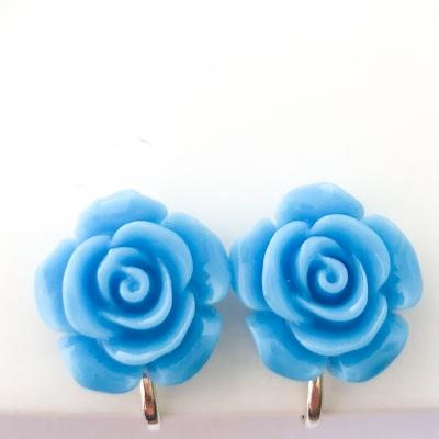 Clipoorbellen bloem turquoise plastic groot, knopje