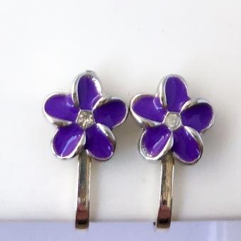Clipoorbellen bloem paars/zilver, knopje