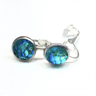 Clipoorbellen zeemeerminschubben mini turquoise, knopjes