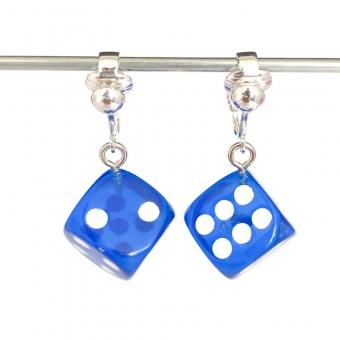 Clipoorbellen dobbelsteen blauw, hangoorbellen