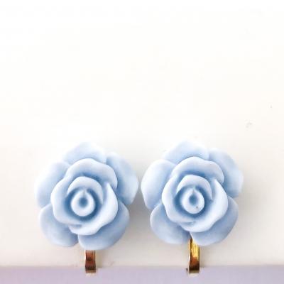 Clipoorbellen bloem lichtblauw plastic groot, knopje