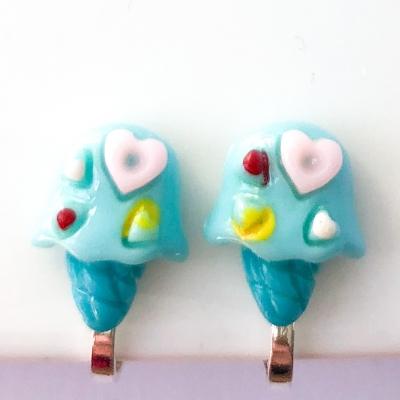 Clipoorbellen ijsje turquoise, knopje