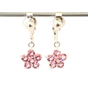 Clipoorbellen glitterbloem roze, hangoorbellen