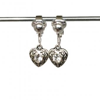 Clipoorbellen antiek zilveren hartjes met 1 blanke glitter, hangoorbellen
