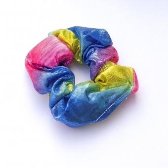 Scrunchie glimmend, blauw/roze/geel