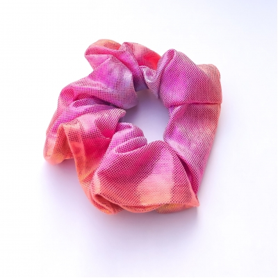 Scrunchie glimmend, roze/oranje