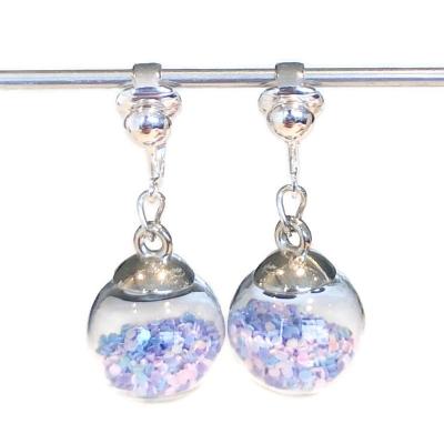 Clipoorbellen bal met pastelglimmertjes, hangoorbellen