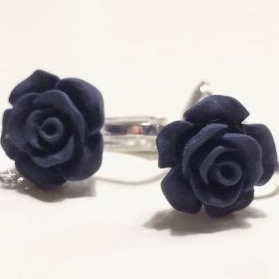Clipoorbellen bloem donkerblauw plastic groot, knopje