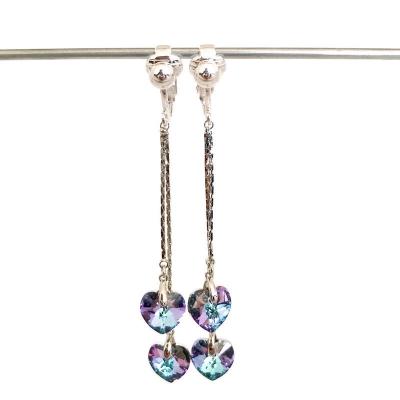 Clipoorbellen chique lange oorbellen met Stellux Austrian Crystal, hangoorbellen