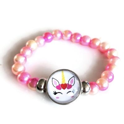 Armband, unicorn/eenhoorn-kralen roze