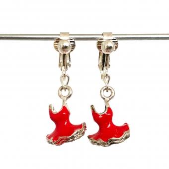 Clip oorbellen ballerinajurk rood, hangoorbellen