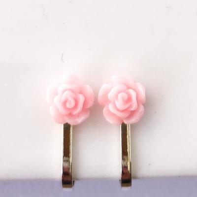 Clipoorbellen bloem lichtroze plastic mini, knopje