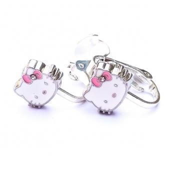Clipoorbellen Hello Kitty met roze strik, knopje
