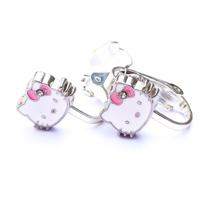 Clipoorbellen Hello Kitty met roze strik, knopje