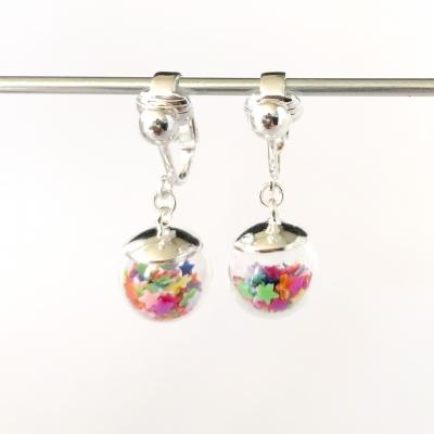Clipoorbellen bal met sterretjes regenboog mini, hangoorbellen