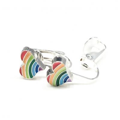 Clipoorbellen hartje regenboog, knopje