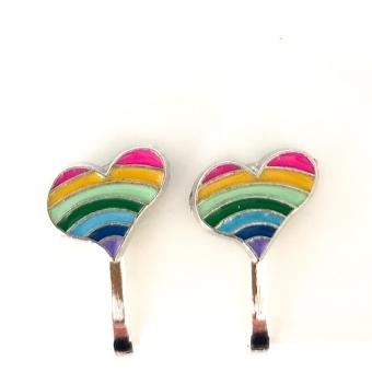 Clipoorbellen hartje regenboog roze, knopje