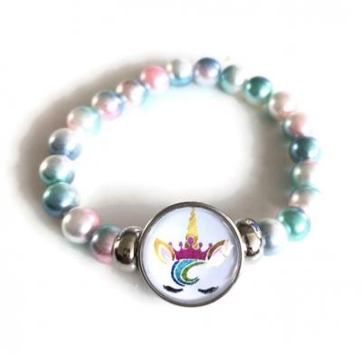 Armband, eenhoorn-kralen turquoise